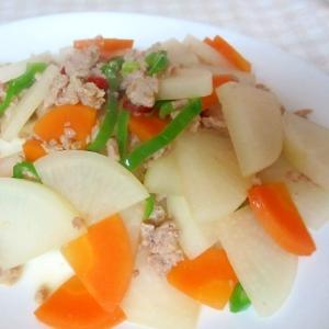 ひき肉と大根、にんじんのナンプラー炒め