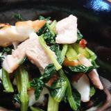 竹輪と豚肉と小松菜の煮びたし