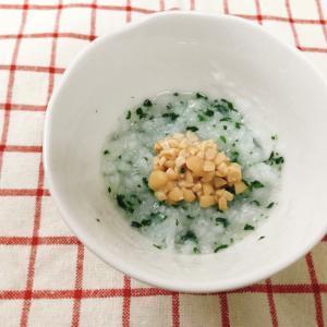 【離乳食後期】5倍粥のひきわり納豆とほうれん草のせ