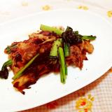 スパイス風味♪小松菜とマイタケの豚肉炒め