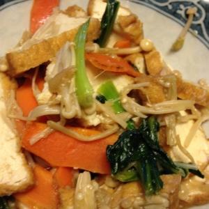 小松菜と人参とえのきと厚揚げのしょうが炒め煮
