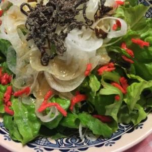 グリーンリーフレタスと新玉の塩昆布サラダ