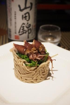 【兵庫食材】蛍烏賊と菜の花の押しそば寿司