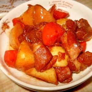 コロコロ豚肉と新じゃが芋の甘辛煮