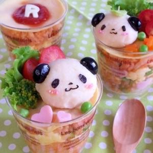 お買いものパンダと小パンダのカップオムライス♪