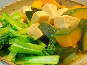 南瓜と高野豆腐、小松菜の炊き合わせ