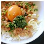 バジル&チーズ de 納豆丼♪
