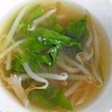 山東菜とモヤシとマイタケのお味噌汁