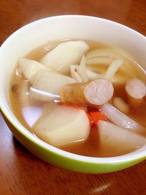 かぶと野菜とウインナーの和風スープ