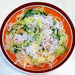 残り野菜で、冷麦チャンプルー