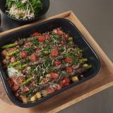厚揚げのっけご飯と肉巻アスパラのオーブン焼き