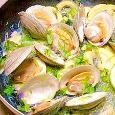 減塩☆ホンビノス貝のパクチー蒸し