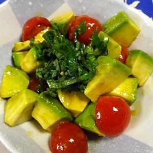 アボカドトマトの亜麻仁辛子醤油