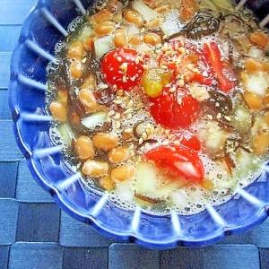 ヘルシー♪トマトと玉ネギ入り!納豆のもずく酢和え
