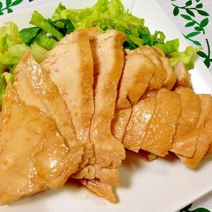 ルクエで、蒸し鶏のニンニク醤油漬け