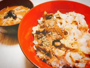 ネギ塩豚バラと甘辛豚こまで2種の贅沢豚丼!