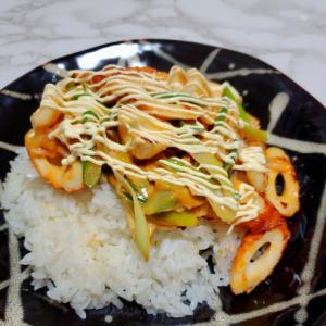 竹輪と長葱のコチュマヨ丼