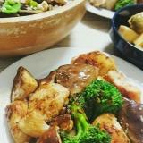 鶏肉と肉厚しいたけとブロッコリーの炒めもの