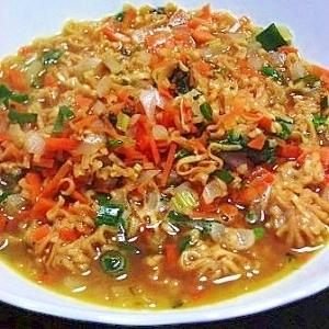 チキンラーメンで作る 香草スープ
