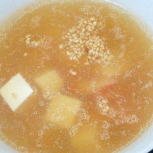 旨味たっぷりゆで汁で★豆腐とカニかまの中華スープ