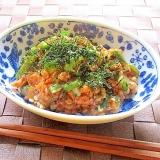 茹でオクラとキムチと納豆の和えもの