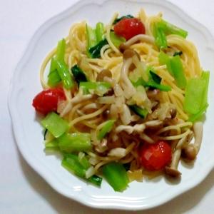小松菜としめじのスパゲティ