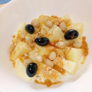 シナモン香る☆りんごの黒豆&福豆ヨーグルト♪