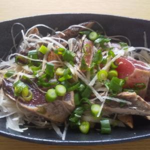 カツオのたたきと大根のサラダ