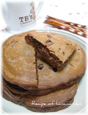 食感が面白いHMで簡単!チョコ入りパンケーキ☆