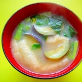 茄子とほうれん草油揚げの味噌汁