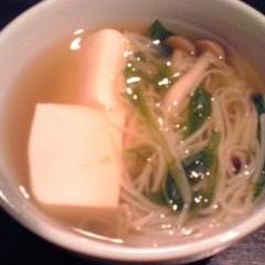水菜と豆腐とそうめんの和風だしスープ