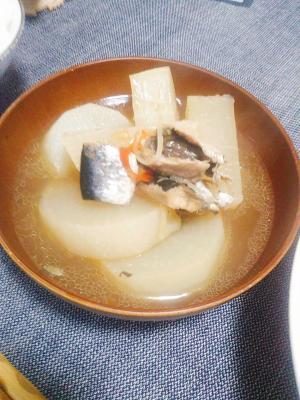 材料は4つのみ( ・∇・)水煮缶と大根の煮物