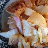 厚揚げとベーコンと大根のキムチ炒め。