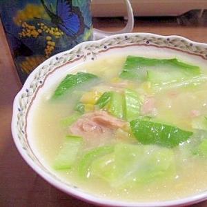 ツナと青梗菜のコーンスープ