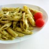 小松菜のジェノベーゼ風イカペンネ