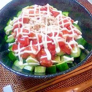 暑い夏は、キュウリとトマトでサッパリ!ツナマヨ丼♪