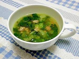 濃厚♪ひき肉と小松菜の中華スープ