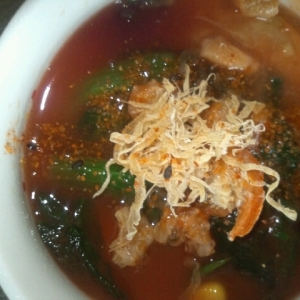 トマト&ほうれん草トマト味噌スープ
