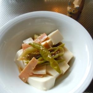 お豆腐と万願寺唐辛子の中華風煮込み♪