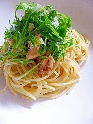めんつゆで簡単味付け☆ 水菜とツナの和風パスタ
