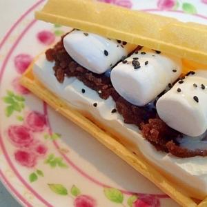 餡子とマシュマロと黒胡麻のモナ王サンド