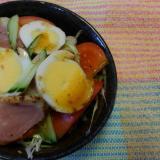 合鴨とゆで卵とトマトのサラダ(^o^)