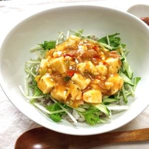 残った麻婆豆腐で水菜と胡瓜のシャキシャキ丼♡