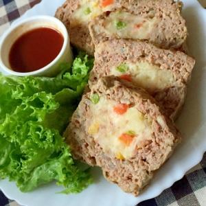 絶品♡ポテトサラダinミートローフ