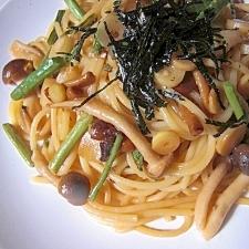 常備 山菜水煮とシメジの和風スパゲティ