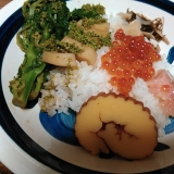 お正月の残りで散らし寿司
