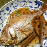 [お手伝いレシピ]鯛のアラとごぼうれんこんの煮付け