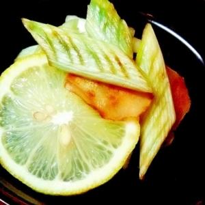 風邪予防に♪焼きねぎのレモンジンジャー蒸し