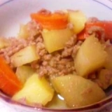 速い!ミンチと野菜三種類の煮物