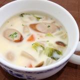 ソーセージと野菜のクリームスープ
